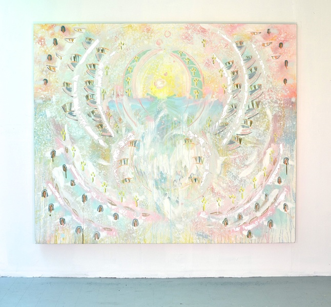 Shanna Waddell She  oil, spray paint, silver leaf, on canvas