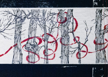 Sharon Hogg 2014 Tales from the Maple Forest Silkscreen on Cottonbacked Raw Canvas