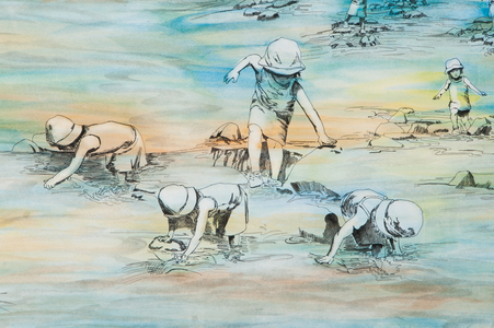 Sharon Hogg 2011 Peopled Land Watercolour and Ink Wash on Paper