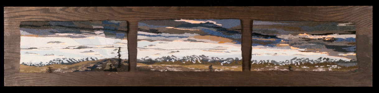 Sharon Hogg 2014 Fairly Odd Landscapes Wool tapestry in three panels on ebony stained Oak