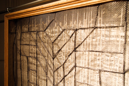 Sharon Hogg 2014 Sunday 2PM Woolen Tapestry, Linen Lace, Embroidered Windowscreen and Gym Weights