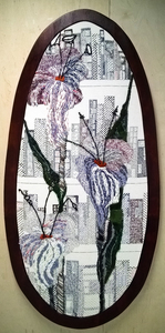 Sharon Hogg Pear Shaped World Exuberant Delight in Found Materials and Critical Stitchery on Java Canvas and Wood Panel