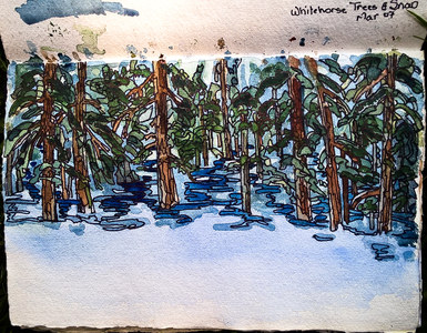 Sharon Hogg Ski Trails Sketches Watercolour and Ink on Paper