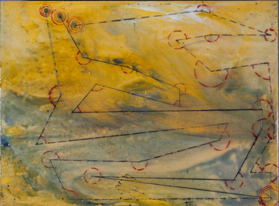 Sharon Hogg 2014 Between the Swan and Hercules Oil and Encaustic on Panel