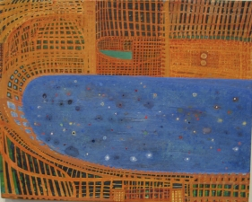 SHARON HORVATH Beds and Baseball Dispersed Pigment and Polymer on Canvas