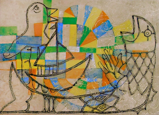Journal  gouache, charcoal, gold leaf and wax on birds-eye maple