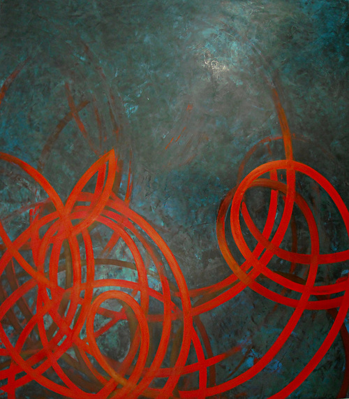 Infinity  cadmium red mineral pigment and turquoise pigmented plaster on board