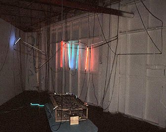 Public Art Viewer participation light and sound installation / neon & electronic circuit board