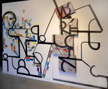 Shawn Turung                            multi media fine art Totems gallery wall dimension: 12 .5ft. x 8ft. x 2in.