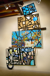 Shawn Turung                            multi media fine art Totems latex house paint, Sumi ink, and wedged wood contruction