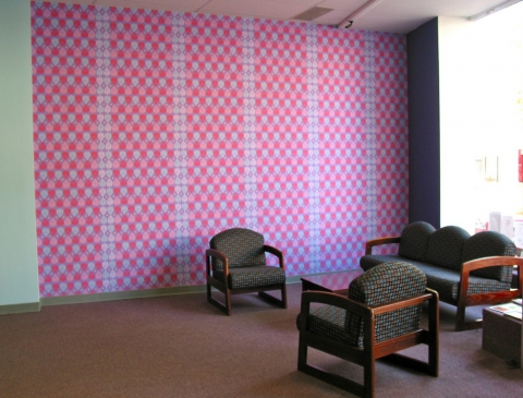 Sheila Ross Lounge Digital wallpaper, Xerox transfer prints, fabric, found objects, contact paper, digital prints, latex paint, wood trim