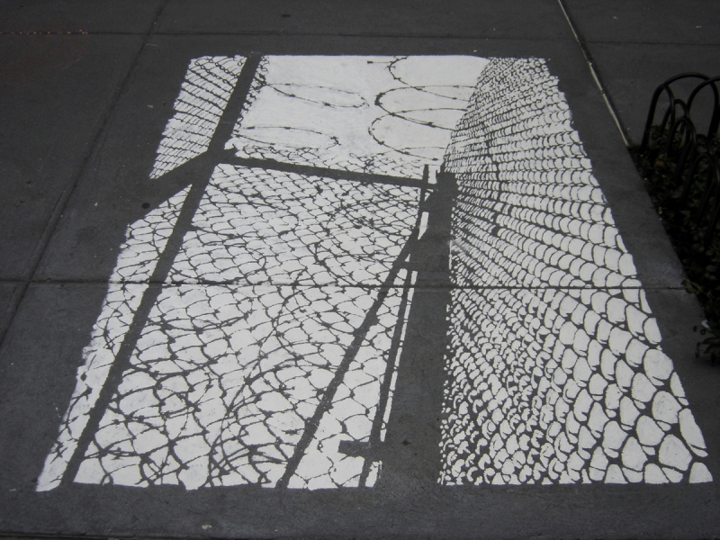 Tangles, Portals and Fences 2004-2007 tempera on sidewalk