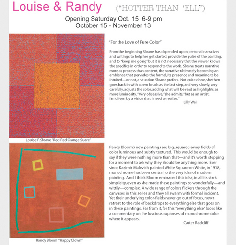 HOTTER THAN 'ELL: Paintings by Louise & Randy - October 15 to November 13, 2011