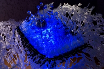 Soyeon Cho Installation Plastic Forks, Glass Pipettes, Blue LED, Crystal