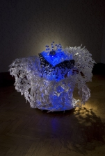 Soyeon Cho Installation Plastic fork, Plastic Forks, Glass Pipettes, Blue LED, Crystal