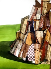 STACIE SPEER SCOTT Wood Stack collage ,watercolor