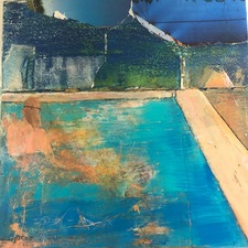 STACIE SPEER SCOTT Pond Swimming collage /mixed media