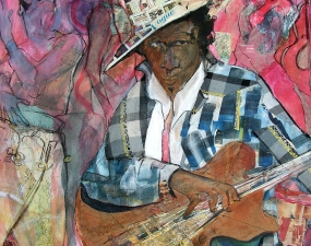 STACIE SPEER SCOTT Musicians mixed on canvas