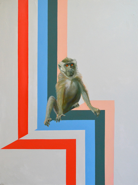 Steven Baines attitude and altitude (monkeys)  oil on canvas