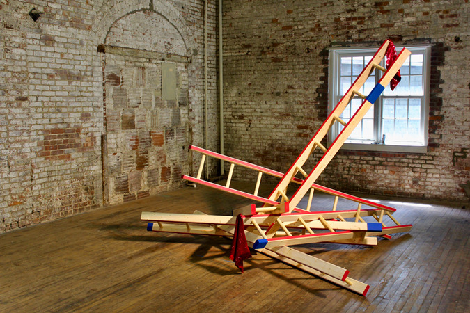 Steve Rossi Reciprocal Ladders Sequined fabric, wood, and acrylic latex