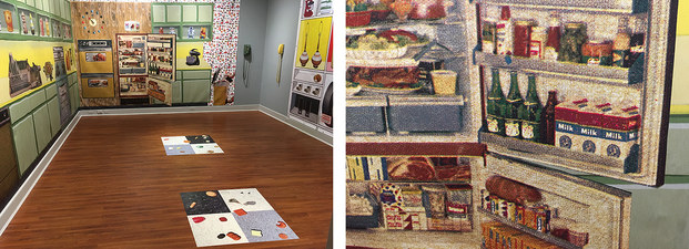 SUE JOHNSON Ready-Made Dream (2013-18)   Prints on vinyl with found objects (avocado wall-mounted phone with extra long cord, and yellow Slimline phone)