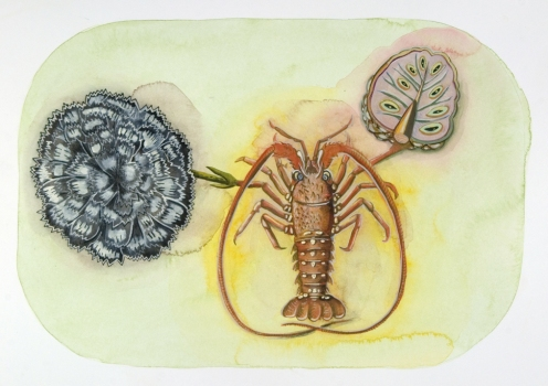 SUE JOHNSON Cabinet: Raw & Cooked Gouache and colored pencil on paper