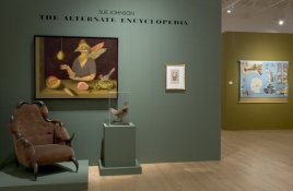 SUE JOHNSON Exhibition at the John Michael Kohler Art Center (2006) Oil on linen, Buffalo horn chair and stuffed prairie chicken