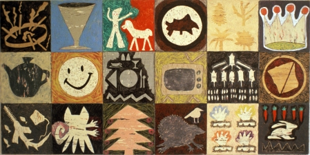 SUE JOHNSON Linoleum Paintings 1984-85 Acrylic on linoleum floor tiles