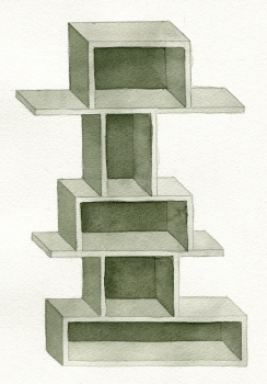 SUE JOHNSON Designs for Imaginary Shelves (2011-13) Watercolor and pencil on paper