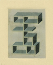 SUE JOHNSON Designs for Imaginary Shelves (reduction relief prints) Unique relief reduction print