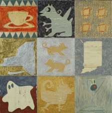 SUE JOHNSON Linoleum Paintings 1984-85 Acrylic on linoleum, mounted on wood panel