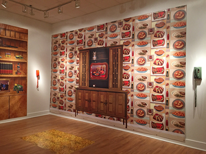 SUE JOHNSON Home of Future Things, University of Memphis (2016) Print on vinyl with floor decal with found objects (mid-century telephones)