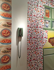 SUE JOHNSON Home of Future Things, University of Memphis (2016) Prints on vinyl with found objects (mid-century telephone)
