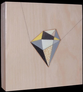geometric pen + paint on wood