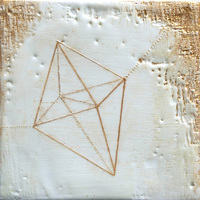 geometric paint + encaustic on wood