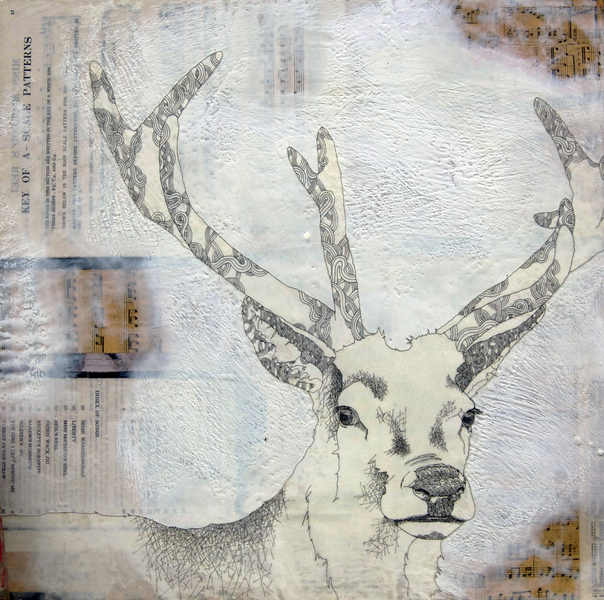 susan freedman horns and feathers encaustic