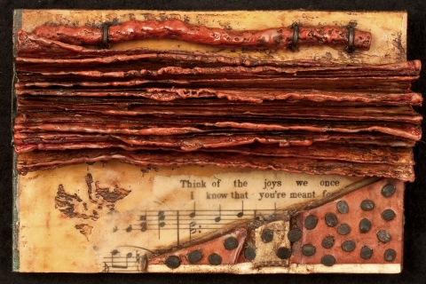 Small Works vintage sheet music, book pages, nails, wool, encaustic
