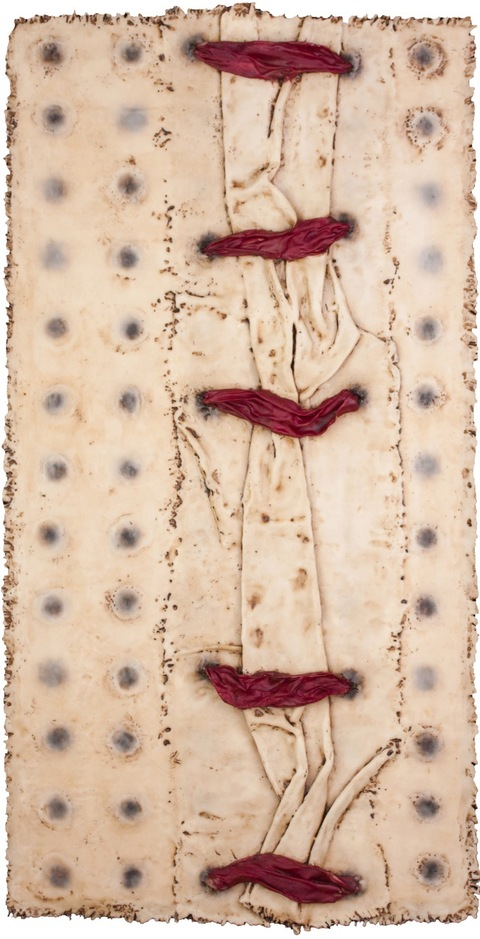 Constrict/Construct canvas, silk, encaustic