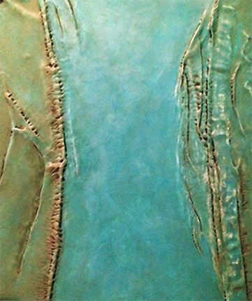 Between The Tides cotton cloth & encaustic on cradled panel