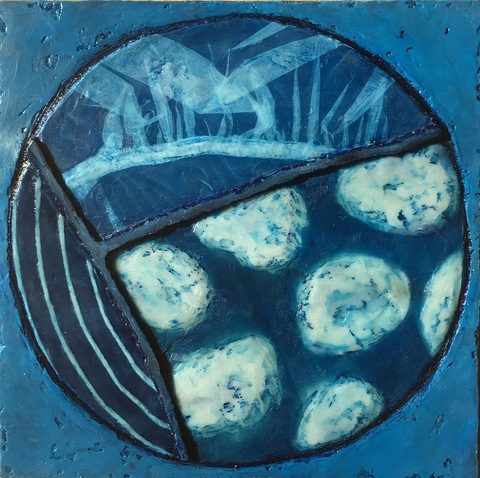Small Works cyanotype, textiles and encaustic
