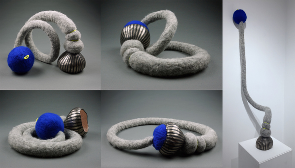 Sculpture porcelain, wool, string