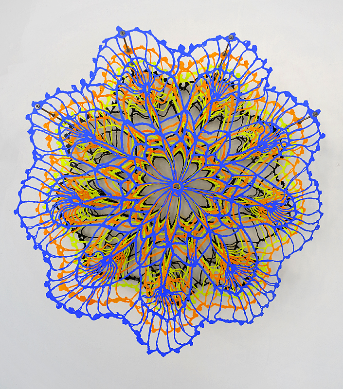 Susanna Starr Fluorescent Pieces hand-cut mylar, acrylic paint, stainless steel hardware