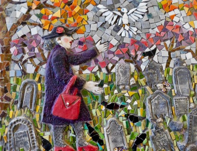 Suzi K. Edwards Mosaic Musings on Politics and Life Glass Mosaic, rocks, millifiore