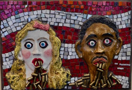 Suzi K. Edwards Mosaic Musings on Politics and Life White Stoneware Underglazed, Glass Mosaics, Doll Eyes, Shell Casings