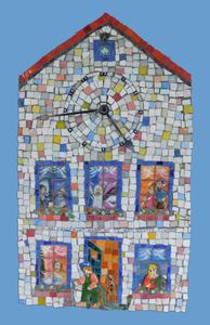 Suzi K. Edwards The Art of Time Glass Mosaic, Clear Glass Acrylic Painting Functional Clockworks