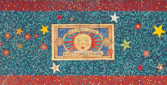 Suzi K. Edwards Public Art-Susan B Katz Theater Bas Relif Ceramic, Glass Mosaic