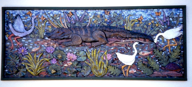 Suzi K. Edwards Public Art-Alligator on a Riverbank
