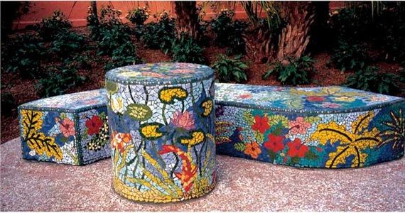 Suzi K. Edwards Public Art-Florida Botanical Gardens Ceramic Mosaic over Concrete