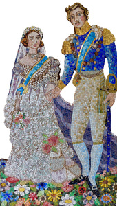 Suzi K. Edwards The Wedding of Queen Victoria and Prince Albert & other odd images Glass Mosaic smalti, Rhinestone Jewelry, Pearls, Swarovski Crystals, 24 K gold glass tiles