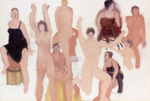 Sylvia Sherwin Goldberg Figures oil pastel and pencil on paper